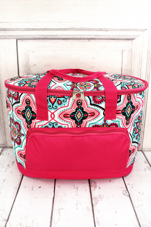 Blissful Garden and Hot Pink Cooler Tote with Lid
