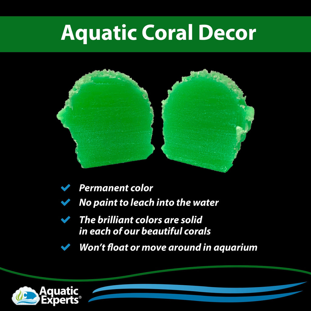 Artificial Aquarium Coral - Lettuce Coral Lime Green -Freshwater and Saltwater Aquarium Decorations - Made in USA Coral Decorations Aquatic Experts