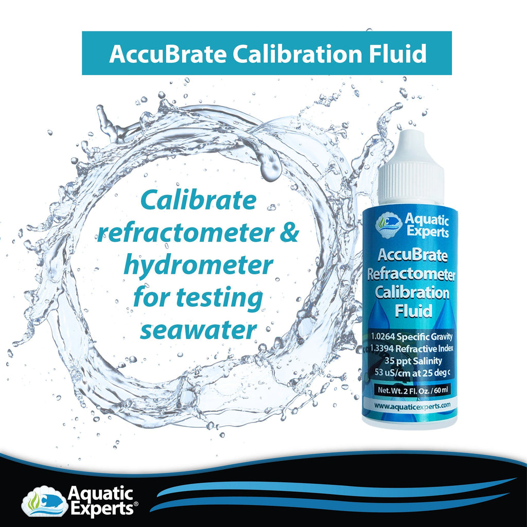 AccuBrate Refractometer & Hydrometer Salinity Calibration Fluid – 60 ml Water Testing Aquatic Experts