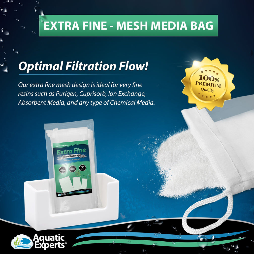 "Extra Fine Mesh Media Filter Bags - 3"" by 8"" - 4 Pack with Drawstrings for Extra Fine Media Aquatic Experts"