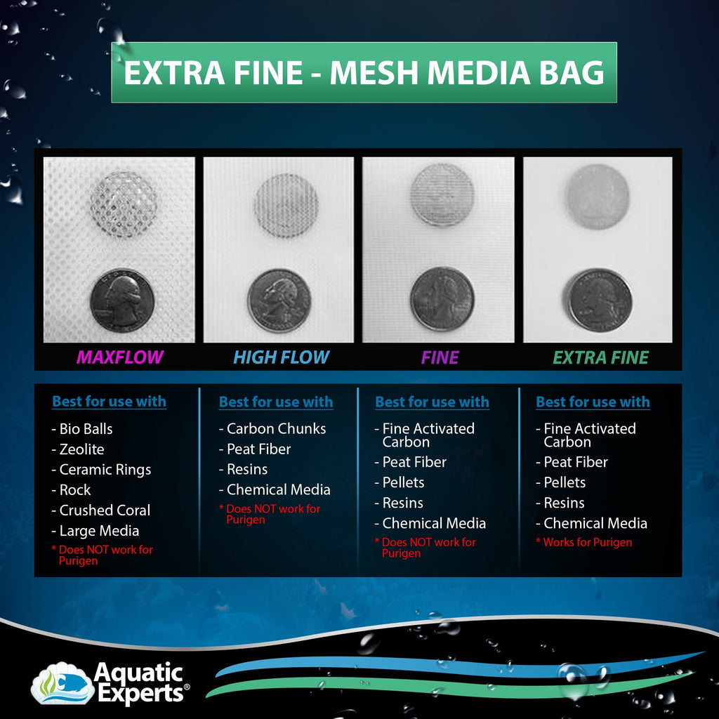"Extra Fine Mesh Media Filter Bags - 5"" by 9"" - 4 Pack with Drawstrings for Extra Fine Media Filter Bag Aquatic Experts"