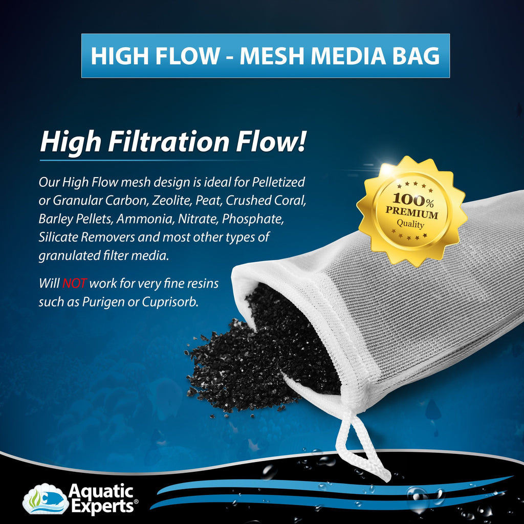 High-Flow Mesh Media Filter Bags with Drawstring - 3 Inch by 8 inch - 4 Pack Filter Bag Aquatic Experts