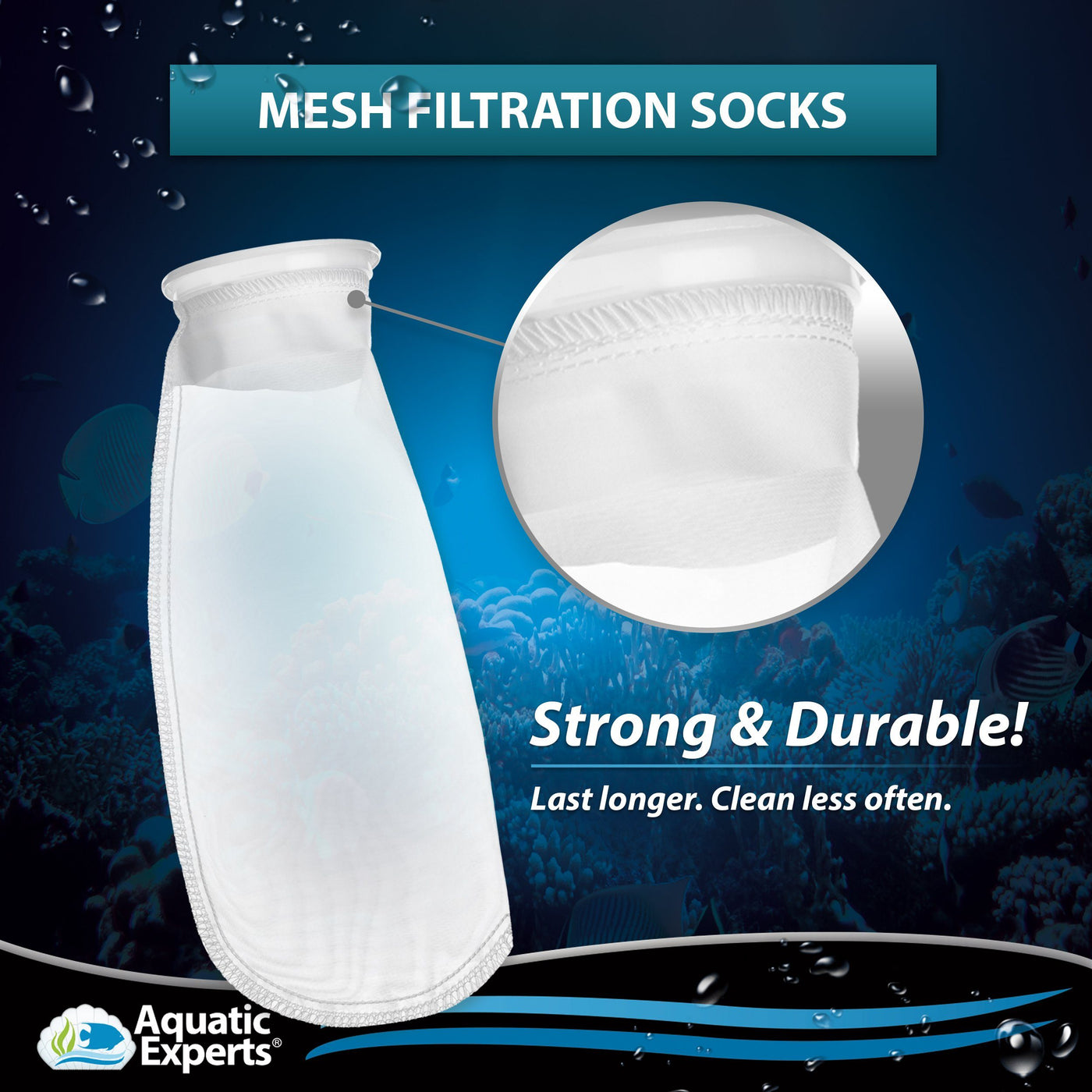 MESH Filter Socks 200 Micron - 4 Inch Ring by 11 Inch Long - MEDIUM - 2 Pack Aquatic Experts
