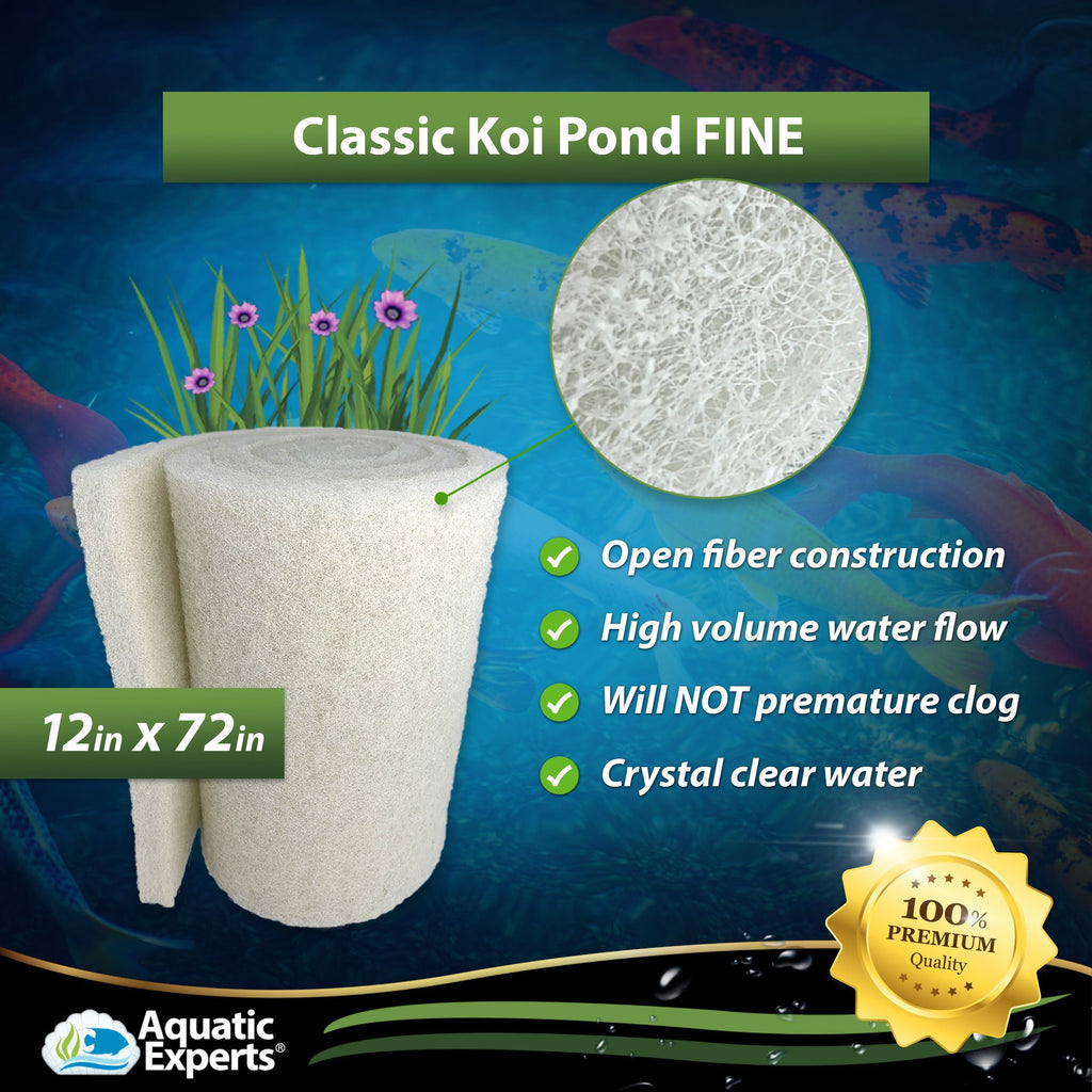 "White Classic Koi Pond FINE Filter Roll - 18"" by 72"" Long by 3/4"" to 1"" Filter Pad Aquatic Experts"