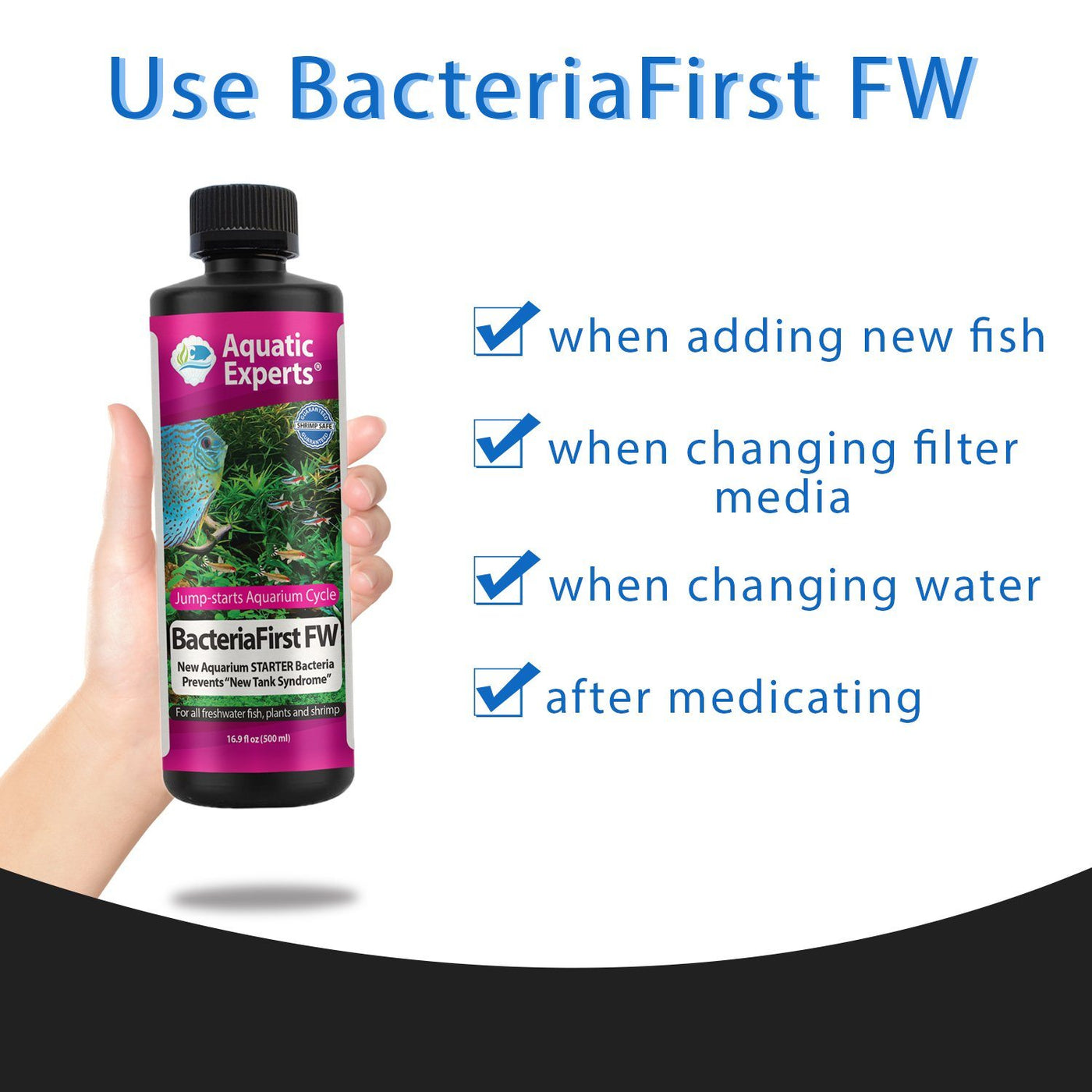BacteriaFirst Freshwater Aquarium Bacteria Starter – Quick Start Aquarium with Beneficial Nitrifying Bacteria, Premium Fish Tank Bacteria Prevents New Tank Syndrome - Aquatic Experts