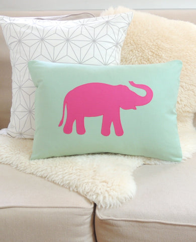 Celadon & Pink Elephant Pillow Cover