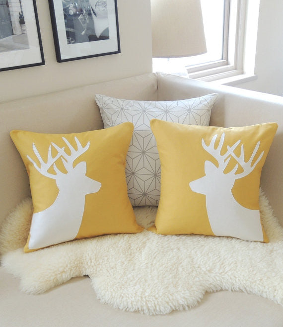 Mustard & Ivory Deer Pillow Cover Pair
