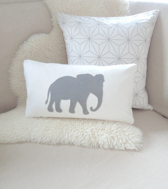 Gray Elephant Pillow Cover