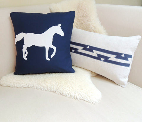 Navy & White Horse Pillow Cover