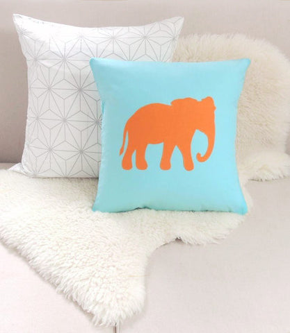 Elephant Pillow Cover - Aqua & Orange
