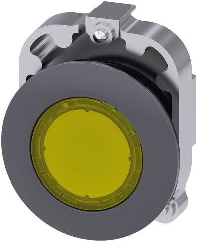 Illuminated push button, 30 mm, round, metal, matte, yellow