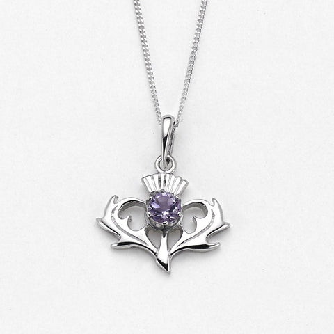 Amethyst (February Birthstone) & Sterling Silver Thistle Pendant CP7, Handmade by Ortak of Scotland