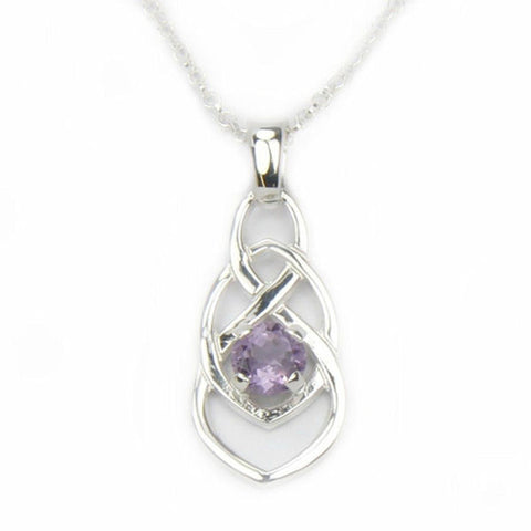 Amethyst (February Birthstone) & 9ct Yellow Gold or Sterling Silver Celtic Style Pendant by Ortak