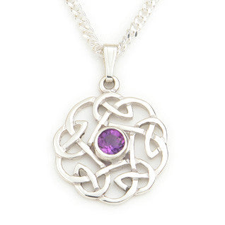 Amethyst (February Birthstone) & Sterling Silver Celtic Style Pendant, Handmade by Ortak of Scotland