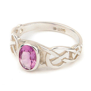 Amethyst & 9ct Yellow Gold or Sterling Silver Celtic Style Ring by Ortak