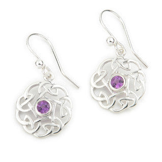 Amethyst (February Birthstone) & Sterling Silver or 9ct Yellow Gold Celtic Style Earrings, by Ortak