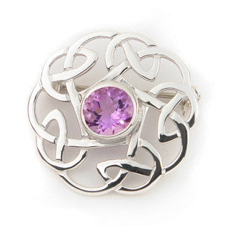 Blue Enamel 'Amethyst' and Sterling Silver or 9ct Yellow Gold Brooch CB62, Handmade by Ortak