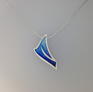 Blue Enamel 'Ignite' and Sterling Silver Pendant EP362, Handmade by Ortak