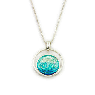 Blue Enamel 'Waterfall' and Sterling Silver Pendant EP327, Handmade by Ortak