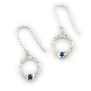 Blue Sapphire (September Birthstone) & Sterling Silver Circular Drop Earrings, by Ortak