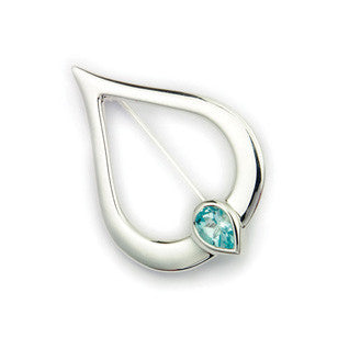 Blue Topaz (November Birthstone) & Sterling Silver Twilight Brooch CB122, Handmade by Ortak Jewellery