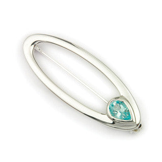 Blue Topaz (November Birthstone) & Sterling Silver Twilight Oval Brooch CB123, Handmade by Ortak Jewellery