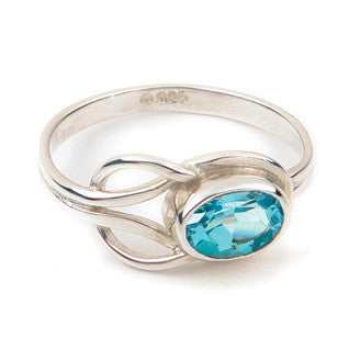 Blue Topaz & 9ct Yellow Gold or Sterling Silver Celtic Style Ring by Ortak