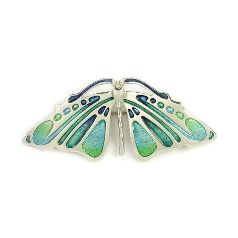 Butterfly Brooch Enamel (Aquamarine-Colours) & Sterling Silver, Handmade by Ortak Jewellery