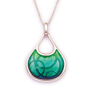 Green Enamel and Sterling Silver Pendant EP305M, Handmade by Ortak