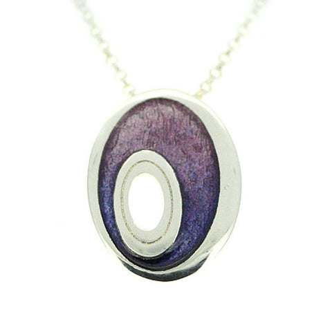 Sterling Silver & Purple Enamel Pendant by Ortak