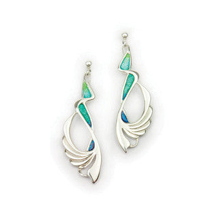 Blue Green Turquoise-colour Enamel & Sterling Silver Earrings by Ortak