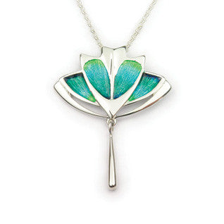Enamel & Sterling Silver Aquamarine-colour Necklet by Ortak