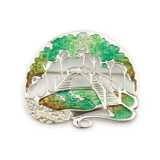 Enamel & Sterling Silver Woodland Brooch EB711, Handmade by Ortak Jewellery