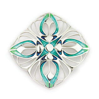 Enamel and Sterling Silver Aquamarine-colour Symmetrical Brooch EB726, Handmade by Ortak Jewellery