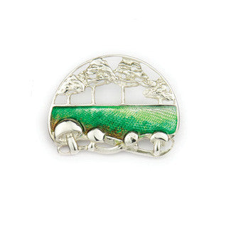Enamel and Sterling Silver Countryside Brooch EB723, Handmade by Ortak Jewellery