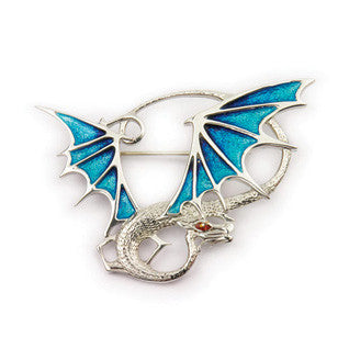 Enamel and Sterling Silver Dragon Brooch EB724, Handmade by Ortak Jewellery