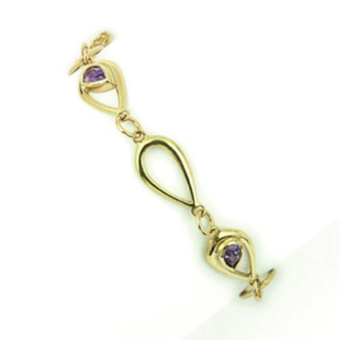 9ct Yellow Gold and Amethyst Bracelet by Ortak Jewellery