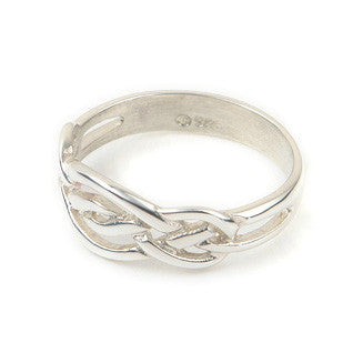 Gold or Sterling Silver Half Celtic Knot Ring by Ortak Jewellery