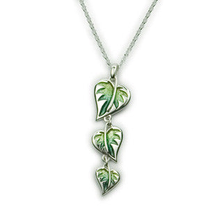 Green Enamel 'Ember' and Sterling Silver Pendant EP332, Handmade by Ortak