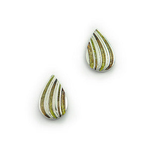 Green Enamel 'Mangrove' and Sterling Silver Earrings EE433, Handmade by Ortak