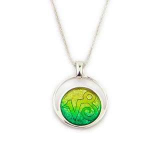 Green Enamel 'Prairie' and Sterling Silver Pendant EP322, Handmade by Ortak