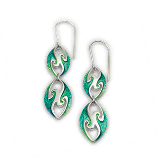 Green Enamel 'Zephyr' and Sterling Silver Earrings EE454, Handmade by Ortak
