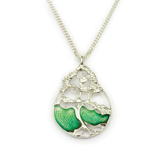 Green Enamel and Sterling Silver Pendant EP749, Handmade by Ortak