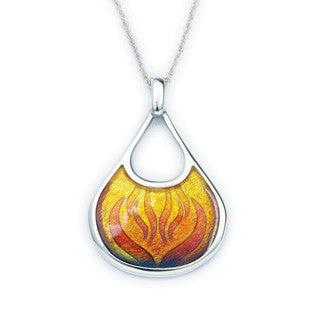 Orange Enamel 'Ember' and Sterling Silver Pendant EP293E, Handmade by Ortak