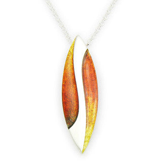 Orange Enamel 'Ember' and Sterling Silver Pendant EP314, Handmade by Ortak