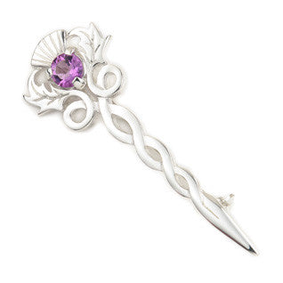 Purple Enamel 'Amethyst' and Sterling Silver or 9ct Yellow Gold Brooch CB36, Handmade by Ortak