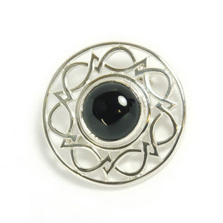 Black onyx & Sterling Silver Brooch SB150 Handmade by Ortak