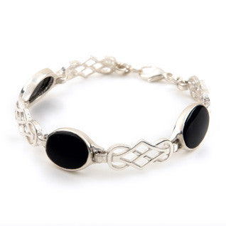 Black Onyx & Sterling Silver or 9ct Yellow Gold Bracelet SBL1, Handmade by Ortak