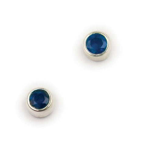 Sterling Silver And Sapphire (September Birthstone) Earrings by Ortak