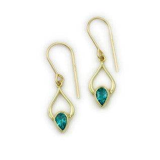 Blue Topaz (November Birthstone) & 9ct Yellow Gold Earrings CE397g, Handmade by Ortak Jewellery